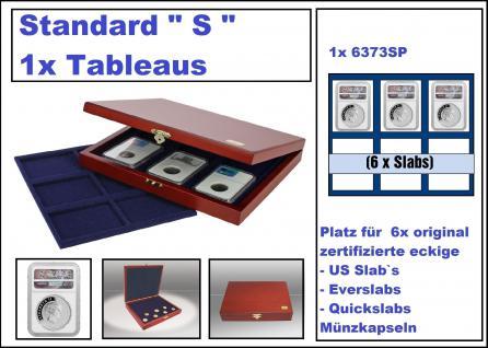 SAFE 5799-6373-1 Premium Holz Münzkassetten Standard S mit x Tableaus 6373SP 6x rechteckige Fächer Für 6 original zertifizierte US Slab Münzkapseln Everslab & Quickslab Münzkapseln