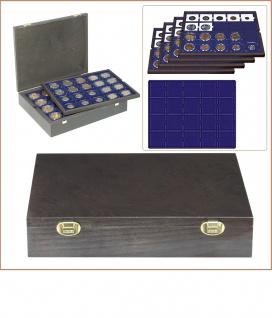 LINDNER 2494-3M CARUS Echtholz Holz Münzkassetten mit 4 Tableaus blau 80 Fächer 50 x 50 mm Münzrähmchen Octo Quadrum Münzkapseln