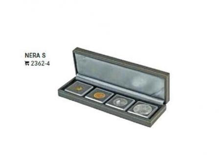 LINDNER 2362-4 Nera S Münzkassetten mit 4 Fächern für Münzen in OCTO & CARREE Münzkapseln