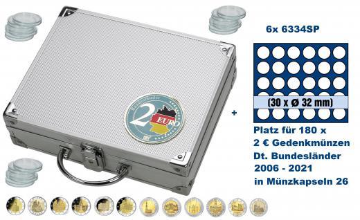 SAFE 247 ALU Länder - Münzkoffer SMART 2 Euro Deutsche Bundesländer 2006 - 2021 mit 6 Tableaus 6334 für 180 Gedenkmünzen in Münzkapseln 26