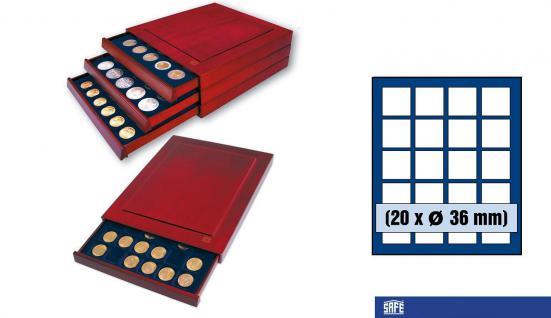 SAFE 6836 Nova Exquisite Holz Münzboxen Schubladenelemente 20 Eckige Fächer 36 mm Für 5 Rubel 50 ÖS Schillinge - 5 DM / Mark der DDR in Münzkapseln