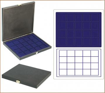 LINDNER S2491-2120ME CARUS-1 Echtholz Holz Münzkassetten blau Mit 20 quadratischen Fächern bis 47 mm