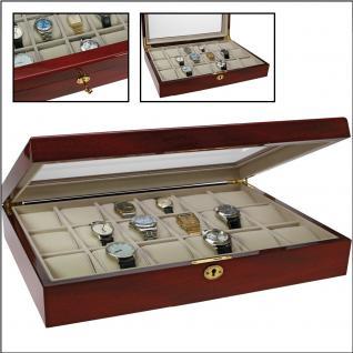 SAFE 261 Lackholz Uhrenkassette Mahagonifarbend Piano Optik mit 18 Uhrenhaltern klarem Sichtfenster - Schmuck - Vorschau 1