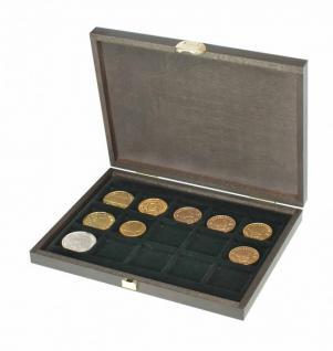 LINDNER S2489-15 Echtholz Kassette Carus XM 15 Fächer Münzen bis 40 mm Ideal für Münzen bis 40 mm & in Münzkapseln 32, 5 - 33 - 34 mm Innendurchmesser