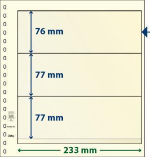 10 x LINDNER 802322P T-Blanko-Blätter Blankoblatt 18-Ring Lochung - 3 Taschen 76 / 77 / 77 x 233 mm