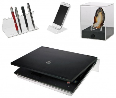 SAFE SET 73705 + 3143 + 5286 + 277Acryl Design Notbook Ständer + Schreibgeräte Organizer Stiftehalter + Telefon Handy Ständer + Deko Cube S