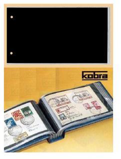 100 x KOBRA G3E Ersatztaschen Ergänzungsblätter glasklar + schwarzem Einsteckblatt 190x120 mm DIN C6 Für Briefe - FDC 'S Postkarten Ansichtskarten Banknoten Geldscheine
