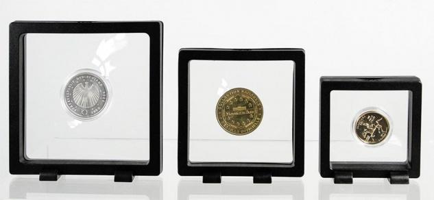 Safe 4528 Schweberahmen Neo Rahmen Frame Presenter 3d Schwarz 110 X 110 Mm / 92 X 92 Mm Für Geocoins - Münzen - Travel Bugs - Geocaching - Vorschau 3