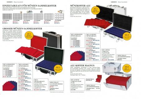 LINDNER 2338-120 ALU MÜNZKOFFER Black Design + 8 Tableaus 2329-15 für 120 Münzrähmchen & Octo Carree Quadrum Square Plaza quadratische Münzkapseln 50x50mm - Vorschau 4