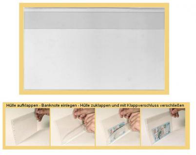 """100 x KOBRA T92 Banknotenhüllen Klapphüllen Schutzhüllen Hartfolie """" Special """" glasklar 178 x 103 mm Für Banknoten - Blocks - Briefmarken - Postkarten - Reklabilder - Vorschau 1"""