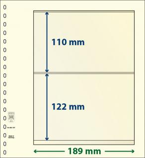 10 x LINDNER 802207P T-Blanko-Blätter Blankoblatt 18-Ring Lochung - 2 Taschen 110 / 122 x 189 mm