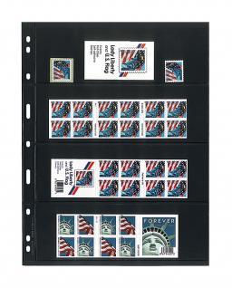 10 x LINDNER 074 UNIPLATE Blätter, schwarz 4 Streifen / Taschen 63 x 194 mm Für Briefmarken Blocks Banknoten Geldscheine