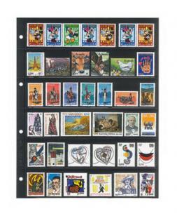 10 x LINDNER 4106 Einsteckhüllen Ergänzungsblätter Publica L A4 6 Taschen / Streifen schwarz 47 x 220 mm Für Briefmarken