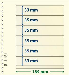 10 LINDNER 802606P T-Blanko-Blätter Blankoblatt 18-Ring Lochung 6 Taschen 33 / 35 / 35 / 35 / 35 / 33 x 189 mm