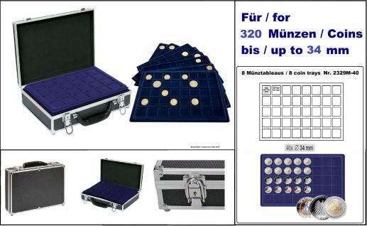 LINDNER 2338M-320 ALU MÜNZKOFFER Black Design mit 8 blauen Tableaus 2329-M40 Für 320 x 2 Euro Gedenkmünzen in Münzkapseln 26 mm