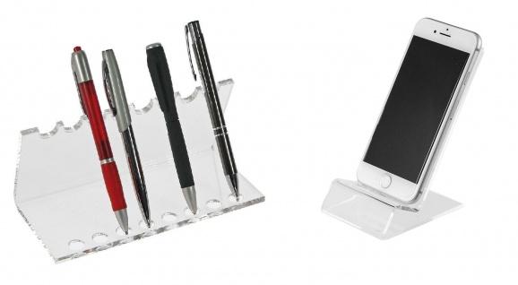 SAFE 73705 + 3143 SET Acryl Design Schreibgeräte Organizer Stiftehalter + Telefon Handy Ständer