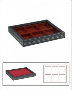 LINDNER 2367-2856E Nera M PLUS Sammelkassetten Dunkelrot Fenster 6x 85x85x18, 5mm
