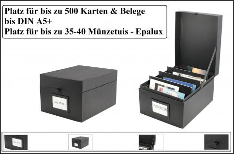 SAFE 5680 Sammel - Box Black Edition - Für bis zu 500 Postkarten Ansichtskarten Banknoten - Papiergeld Einsteckkarten A5