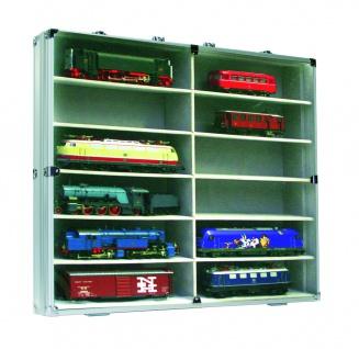 SAFE 5777 Alu Sammelvitrinen Vitrinen Setzkasten Maxi mit 12 Fächern in grau Für Modellbau HO Eisenbahnen Autos Schuco Märklin Trix Fleischmann ROCO