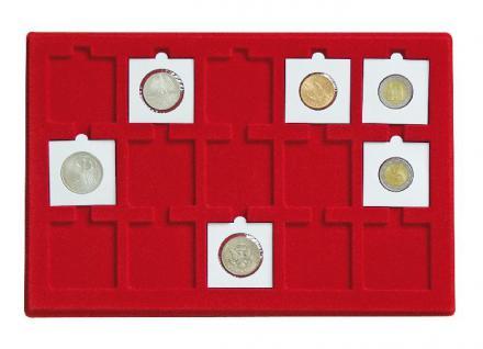 LINDNER 2338-120 ALU MÜNZKOFFER Black Design + 8 Tableaus 2329-15 für 120 Münzrähmchen & Octo Carree Quadrum Square Plaza quadratische Münzkapseln 50x50mm - Vorschau 2