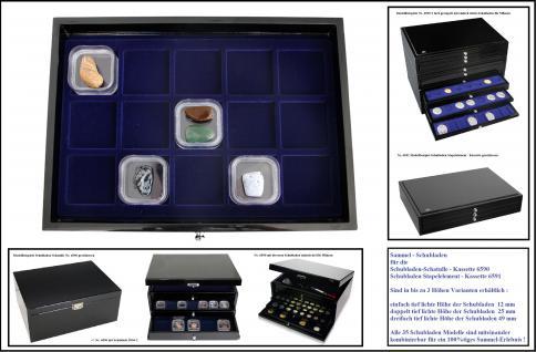 SAFE 5905-3 Schwarze Schubladen mit blauer Einlage 15 Fächer 56 x 56 x 49 mm Ideal für große Schwebedosen & Mineralien & Bernstein & Fossilien