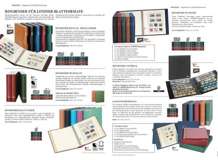 10 x LINDNER 802309P T-Blanko-Blätter Blankoblatt 18-Ring Lochung - 3 Taschen 42 / 120 / 66 x 233 mm - Vorschau 5