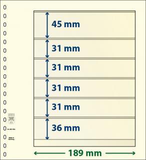 10 x LINDNER 802604P T-Blanko-Blätter Blankoblatt 18-Ring Lochung 6 Taschen 45 / 31 / 31 / 31 / 31 / 36 x 189 mm