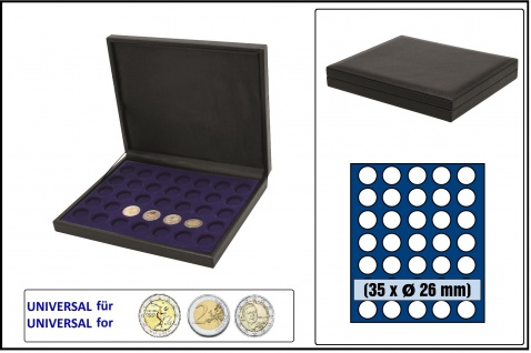 SAFE 63260 NOVA deluxe Münzkassette schwarz 35 runde Fächer 26 mm Für 2 EURO Münzen
