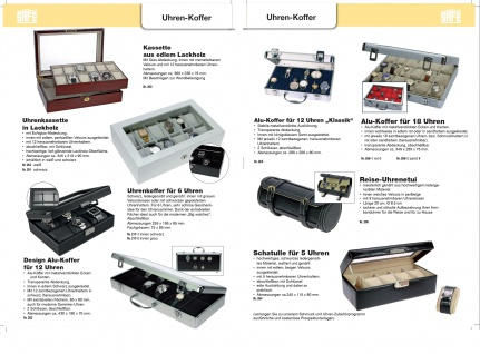 SAFE 0012 Leder Reiseetui Uhren Etui Koffer Uhrenbox in matt Carbo - Schwarz für 8 Armbanduhren Uhrenetui - Vorschau 5
