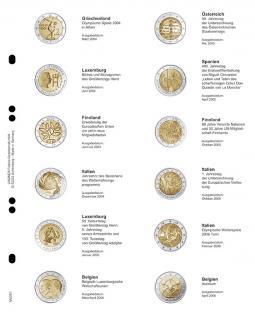 1 x LINDNER MU2E1 Multi Collect Münzhüllen Münzblätter Vordruckblatt 2 Euro Gedenkmünzen Griechenland März 2004 - Belgien April 2006