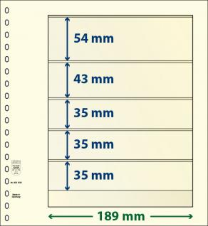 10 x LINDNER 802503P T-Blanko-Blätter Blankoblatt 18-Ring Lochung 5 Taschen 54 / 43 / 35 / 35 / 35 x 189 mm