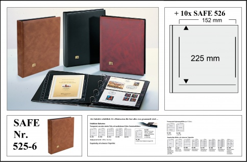 SAFE 525-6 Hellbraun - Braun Universal Album Ringbinder + 10 Hüllen - 1 Tasche 152 x 225 mm Für DIN A5 & ETB's Ersttagsbriefe - gr. Briefe - Banknoten