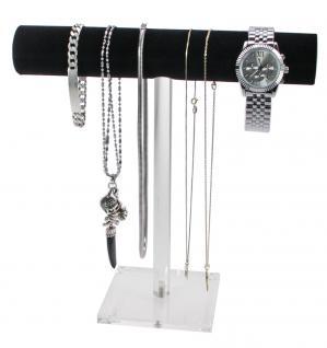 SAFE 73777 Acrylglas Design Schmuckständer Ständer im Galgen Style mit schwarzer Samtrolle für Schmuck & Ketten & Armreifen & Armbanduhren