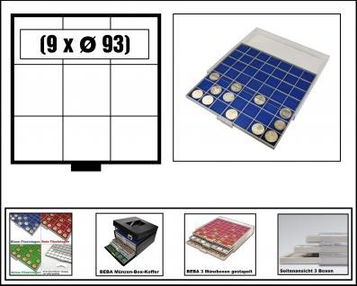 SAFE 6603-4 BEBA MÜNZBOXEN 9 quadratische Fächer 93 mm + blaue Filzeinlagen Ideal für große Münzen & Medaillen & original US Slab's Münzkapseln