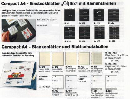 10 SAFE 456 Einsteckblätter Compact A4 - 6 schwarze Taschen 220x47 mm Für Sammelobjekte Briefmarken - Vorschau 3