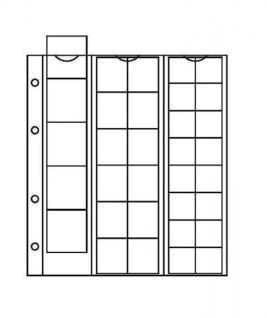 10 x KOBRA F33 Münzblätter Münzhüllen + weiße Zwischenblätter 33 Fächer MIX für Münzen 17, 25, 34 mm - Vorschau 1
