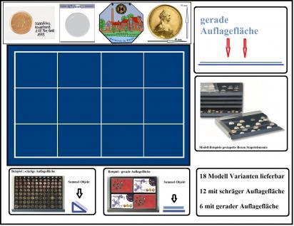 SAFE 6464 Stapelelement Münzbox Münzen-SAFE blaue Einlage 12 eckige Fächer 80 x 75 mm - Ideal für Münzrähmchen XL 67x67 mm - Rebeck Münzrähmchen 75x50 mm - Quadrum XL Münzkapseln - große Medaillen - Pins
