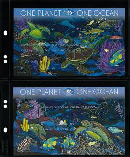10 x LINDNER MU1312 Schwarze Multi Collect Einsteckblätter 2 Taschen 122 x 253 mm für Briefe Blocks Briefmarken Postkarten