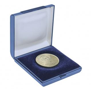 LINDNER 2007 Blaues Münzetui Münzen Etui 80x80x20 mm Für Münzen bis 60 mm