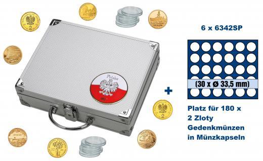 SAFE 244 - 6342 ALU Münzkoffer SMART Polen / Polska mit 6 Tableaus 6342 für 180 - 2 Zloty Gedenkmünzen in Münzkapseln 27 - 27, 5 mm / Polskie monety okolicznosciowe - monet w kapsulkach 27 - 27, 5 mm