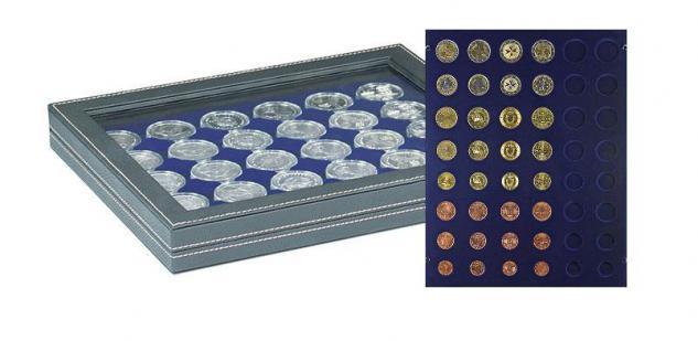 LINDNER 2367-2506ME Nera M PLUS Münzkassetten Einlage Marine Blau mit glasklarem Sichtfenster für komplette 6 Euro Kursmünzensätze KMS 1 Cent - 2 Euro