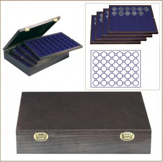 LINDNER 2494-9M CARUS-4 Echtholz Holz Münzkassetten 4 Tableaus blau 120 Fächer Münzen 37x 37 mm Für 10 DM - 10 - 20 Gedenkmünzen bis Münzkapseln 32, 5 PP original ohne Rand