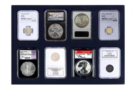 1 x SAFE 180 Blaue Münztableaus 8 eckige Fächer für Münzen bis 62 mm & original US Slabs Münzkapseln