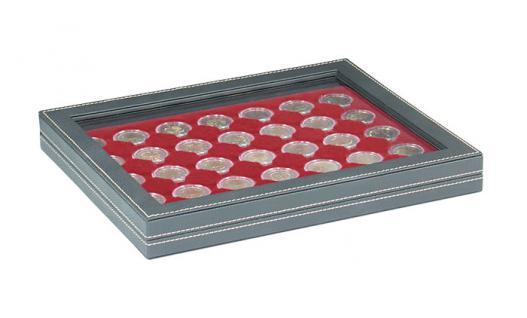 LINDNER 2367-2930E Nera M PLUS Münzkassetten Einlage Dunkelrot Rot mit glasklarem Sichtfenster für 35 x Münzen bis 32 mm für 2 Euro in Münzkapsseln 26