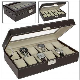 SAFE 73629 Skai Uhrenkoffer Kassette Carbo Schwarz Für 12 Uhren + Uhrenhaltern Cremefarbend