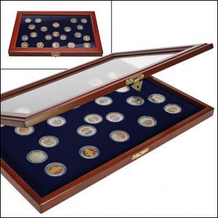 """SAFE 5854 Echt Holz Münzvitrinen Vitrinen 22 x 2 Euromünzen Gedenkmünzen """" 10 Jahre Euro Bargeld 2002 - 2012 """" in Münzkapseln 26 - Vorschau 2"""