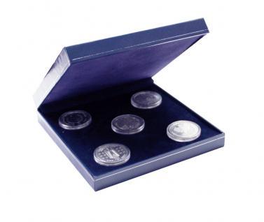 SAFE 7917 Dunkelblaues Münzetui mit Schmuckp.für Deutsche 5 x 10 & 20 Euro Silber Gedenkmünzen Set's
