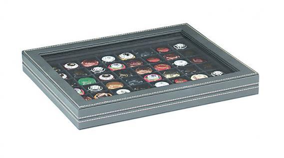 LINDNER 2367-2148CE Nera M PLUS Münzkassetten Einlage Carbo Schwarz mit glasklarem Sichtfenster 48 Fächer für Münzen bis 30 x 30 mm - 5 DM Euro Mark DDR