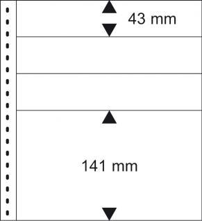 10 x LINDNER 0161P Omnia Einsteckblätter weiss 3 Streifen x 43 mm & 1 Streifen 141 mm