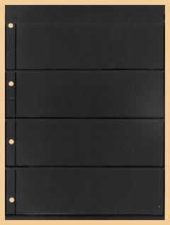 1 x KOBRA E24 Combi Einsteckblätter beidseitig schwarz 4 Taschen 62 x 200 mm Ideal für Briefmarken Blocks Viererblocks Banknoten